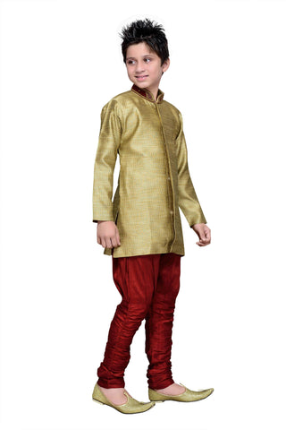 Gold Color Art Silk Kurta Pyjama - IP126