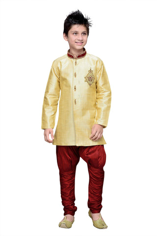 Gold Color Art Silk Kurta Pyjama - IP162