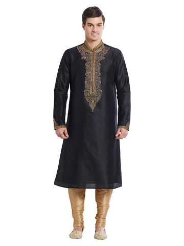 Black Color Silk Blend Kurta Pyjama - IP1694
