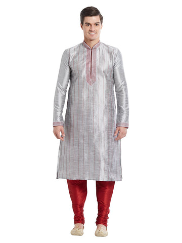 Grey Color Silk Blend Kurta Pyjama - IP1706
