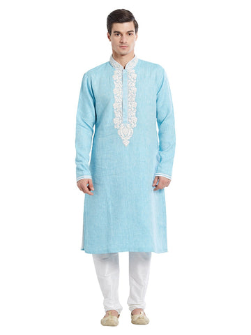 Blue Color Linen Kurta Pyjama - IP1728