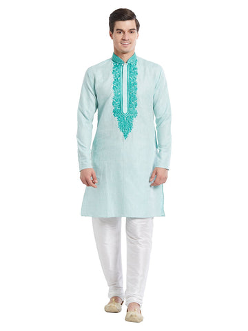 Blue Color Linen Kurta Pyjama - IP1729