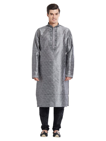 Grey Color Silk Blend Kurta Pyjama - IP1732