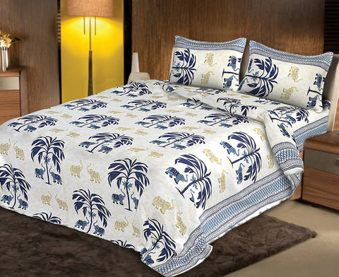 White and Blue Color pure Rozi cotton  Stitched Bedsheet  - JF-JCB-3