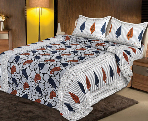 Multi Color pure Rozi cotton  Stitched Bedsheet  - JF-JCB-4