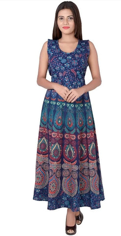 Multi Color Rayon Stitched Dress - JFDR2204507
