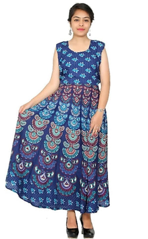 Multi Color Rayon Stitched Dress - JFDR2204606