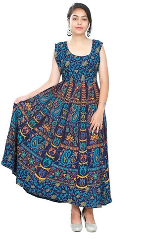 Multi Color Rayon Stitched Dress - JFDR2204804