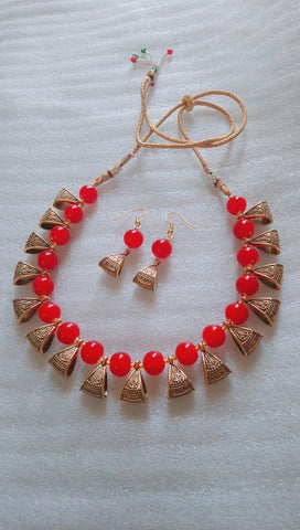 Red Color Alloy Necklace Set - JFNS-2