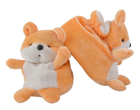 Orange Color Soft Cotton Teddy Bear Baby Booties for New Born Baby - JMA-500