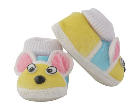 Yellow Color Soft Cotton Puppy Baby Booties for New Born Baby - JMA-507