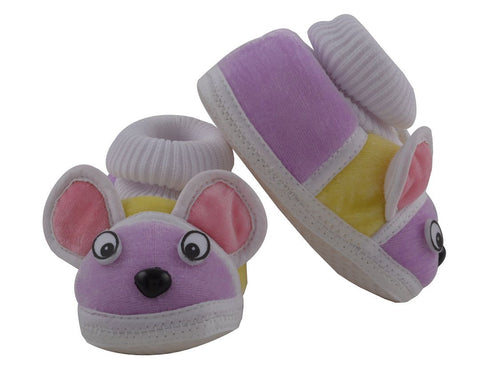 Purple Color Soft Cotton Puppy Baby Booties for New Born Baby - JMA-509
