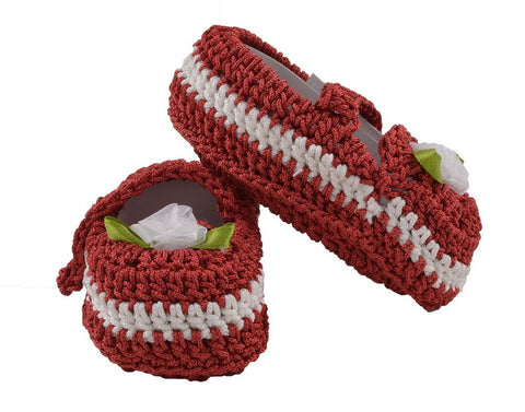 Red Color Soft Cotton Fancy Baby Booties for New Born Baby - JMA-511