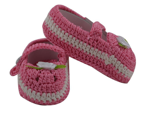 Pink Color Soft Cotton Fancy Baby Booties for New Born Baby - JMA-512