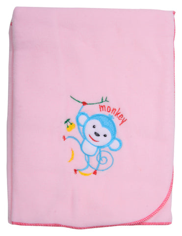 Pink Color Single Polyester Fleece Blanket for Baby  - JMA129
