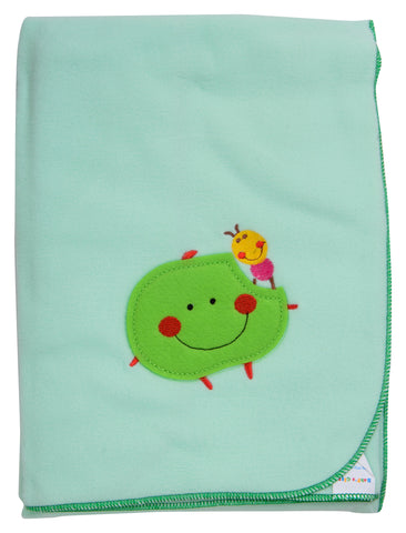 Green Color Single Polyester Fleece Blanket for Baby  - JMA130