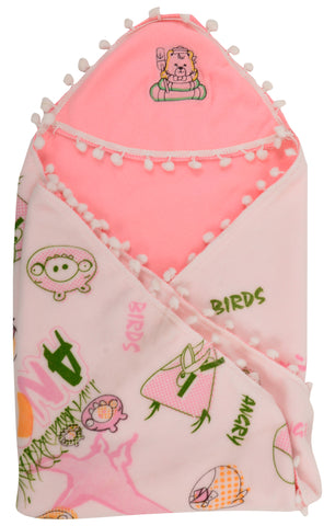 Pink Color Cartoon Single Swadding Baby Blanket  - JMA44