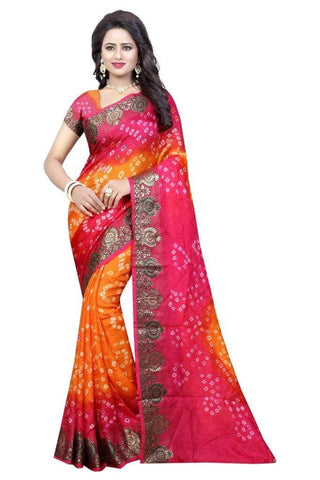 Multi Color Art Silk Saree - JNNAVRANG-1