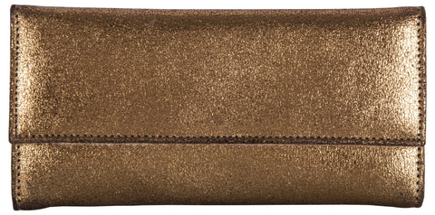 Gold Color Leather Women Jewelry Roll Bag - JR220GOLD