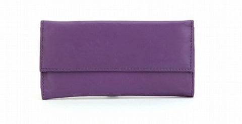Purple Color Leather Women Jewelry Roll Bag - JR220PURPLE
