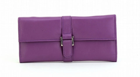 Purple Color Leather Women Jewelry Roll Bag - JR275PURPLE