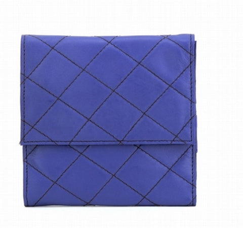 Blue Color Leather Women Jewelry Roll Bag - JR300BLUE
