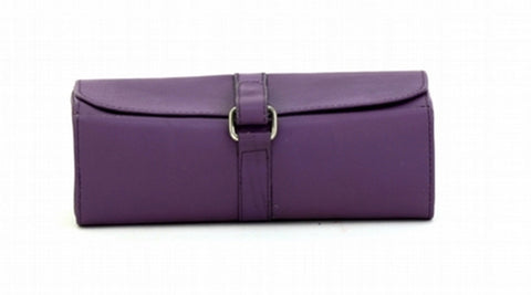 Purple Color Leather Women Jewelry Roll Bag - JR420PRPL