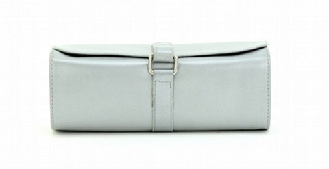 Silver Color Leather Women Jewelry Roll Bag - JR420SLVR