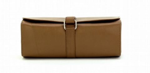 Tan Color Leather Women Jewelry Roll Bag - JR420TAN