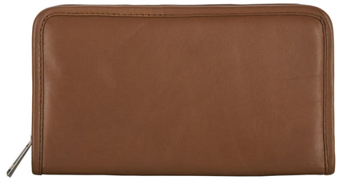 Tan Color Leather Women Jewelry Roll Bag - JR430-TAN