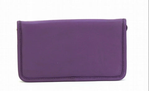 Purple Color Leather Women Jewelry Roll Bag - JR430PRPL