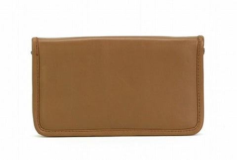 Tan Color Leather Women Jewelry Roll Bag - JR430TAN