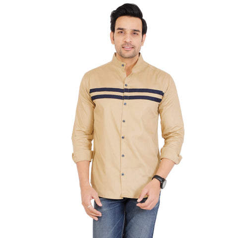 Beige and Black Color Cotton Men's Solid Shirt - KF-ST70