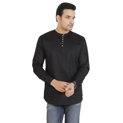 Black Color Cotton Men's Solid Shirt - KF-ST73