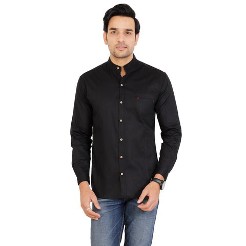 Black Color Cotton Men's Solid Shirt - KF-ST78