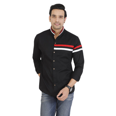 Black Color Cotton Men's Solid Shirt - KF-ST91