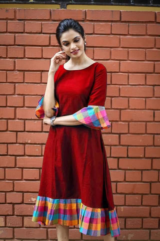 Red Color Khadi Cotton Semi Stitched Dress - KGF-Red
