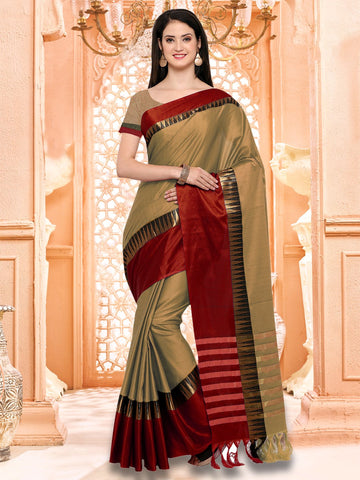 Beige and Red Color Cotton Silk Saree - KVS131K