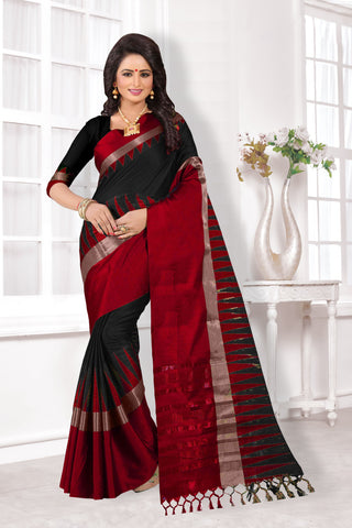 Black and Red Color Cotton Silk Saree - KVS34005