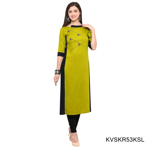 Lime Green Color Rayon Stitched Kurti - KVSKR53KSL