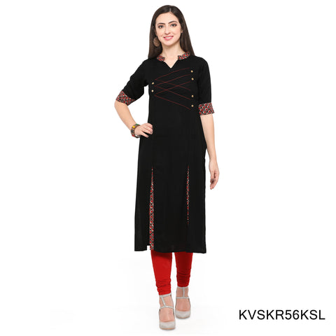 Black Color Rayon Stitched Kurti - KVSKR56KSL