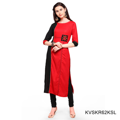 Red and Black Color Rayon Stitched Kurti - KVSKR62KSL