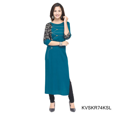 Sky Blue Color Cotton Stitched Kurti - KVSKR74KSL