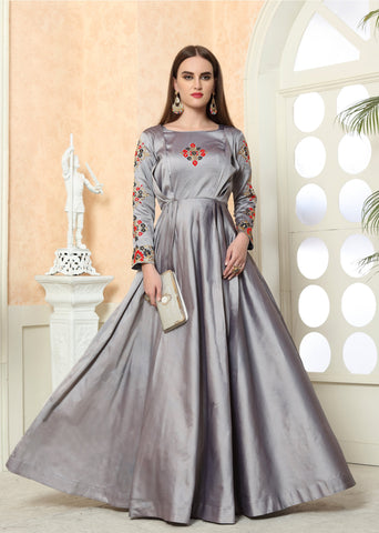 Grey Color Tafeta Silk Stitched Gown - LADY-1905