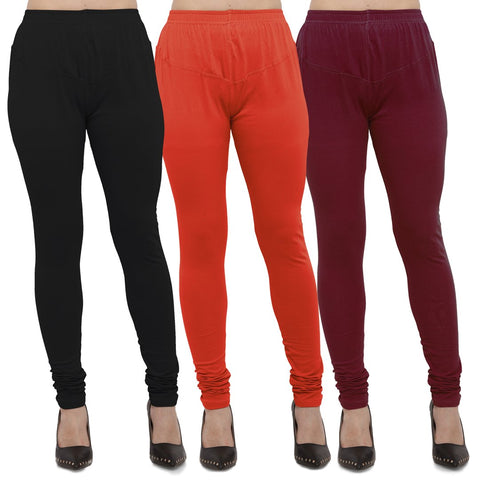 Black,Carrot Red And Maroon Color Cotton Lycra Leggings - LEG-CMB-BLK-CRED-MRN