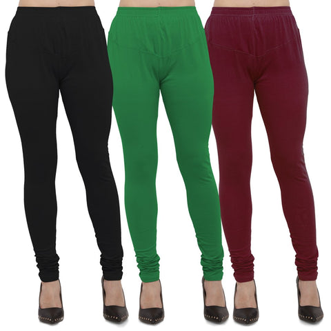 Black,Green And Maroon Color Cotton Lycra Leggings - LEG-CMB-BLK-GRN-MRN