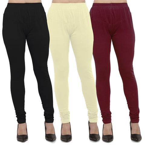 Black,Light Yellow And Maroon Color Cotton Lycra Leggings - LEG-CMB-BLK-LYLW-MRN