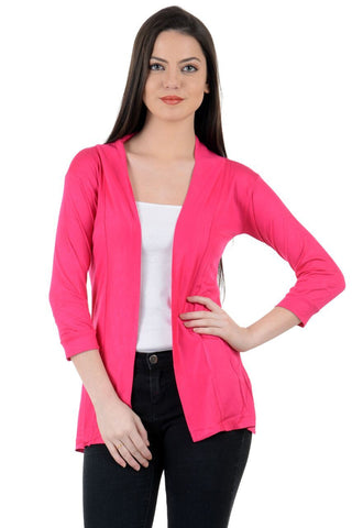 Pink Color Viscose  Womens Shrugs - LS-LS-PINK