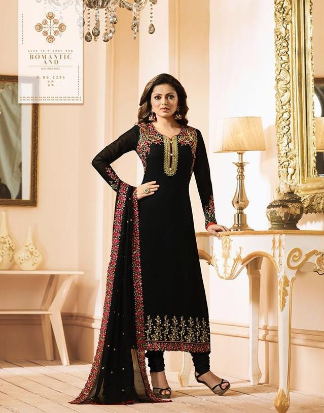 Buy Black Color Fox Georgette Women's Semi-Stitiched Salwar