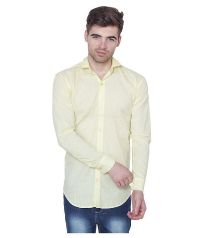 Light Yellow Color Cotton Blend Slim Fit Shirts - LightYellow-shirtsNew